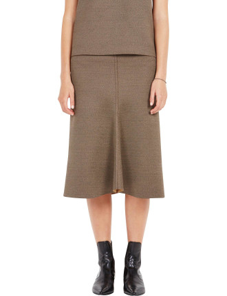 Bonded Melange Flared Skirt