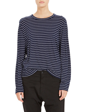 Stripe French Seam Long T-Shirt With Tail