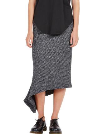 Marl Textured Rib Asymmetric Skirt