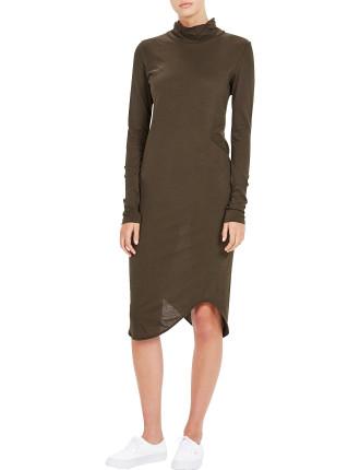 Scoop Hem Funnel Neck L/S Dress