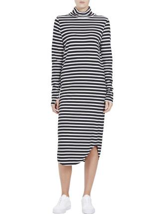 Stripe Vintage Scoop Hem Funnel Neck L/S Dress