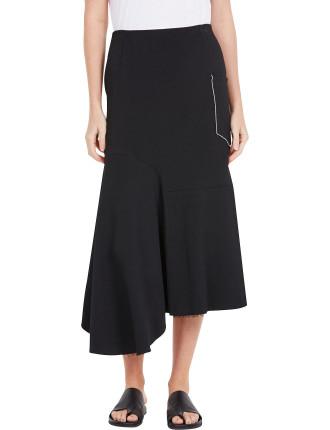 Crepe Asymmetric Pocket Skirt