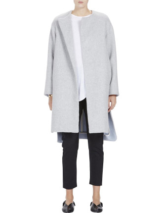 Wool Collarless Coat