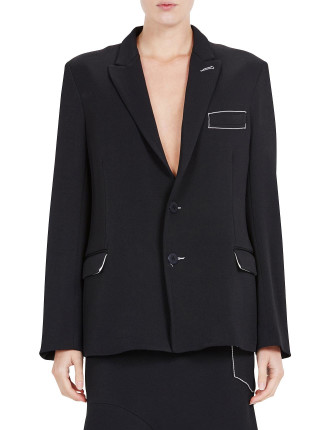 Crepe Tie Back Tailored Jacket