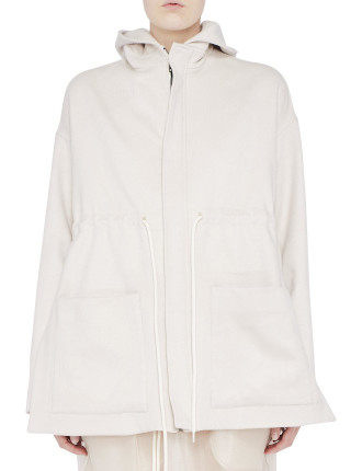 CROPPED DRAWSTRING HOODED COAT