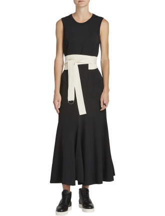 Stretch Crepe Belted Dress