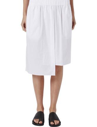 Cotton Asymmetric Elastic Waist Skirt