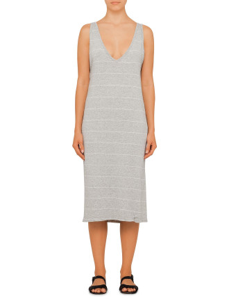Stripe Deep V Neck Tank Dress