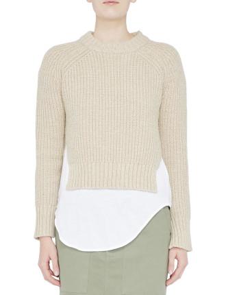 Wool/Yak Hair Cropped Chunky Knit
