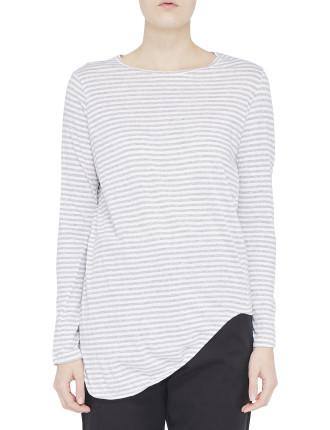 Stripe Htg Scoop Hem L/S T.Shirt