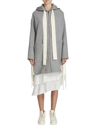 Longerline Drawstring Hooded Coat