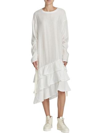 Stripe L/S Ruffle Dress