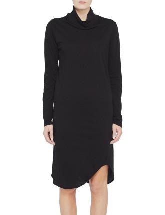 Rib Funnel Neck L/S Dress
