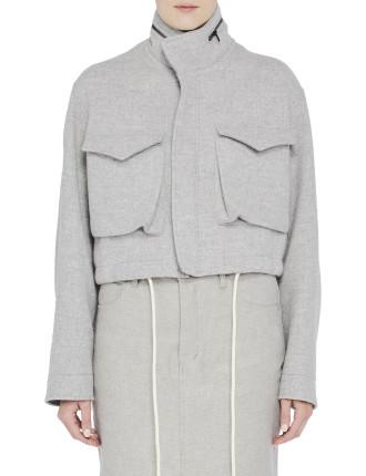 Wool Cropped Utility Jacket