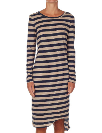 Long Sleeve Stripe T-Shirt Dress