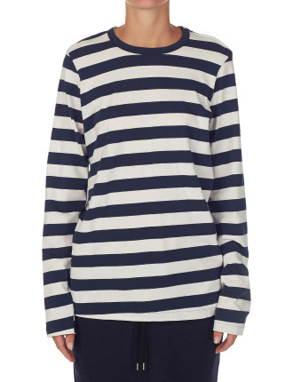 Double Jersey Stripe French Seam T-Shirt