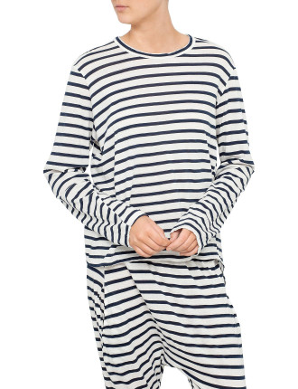 Stripe Oversized French Seam T-Shirt With Tail