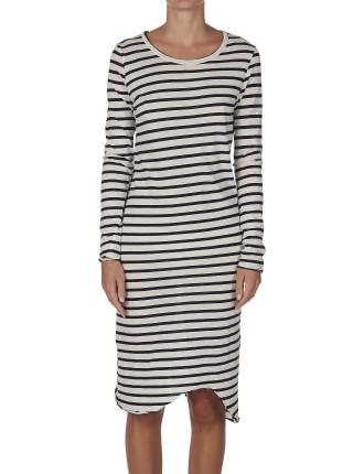 Stripe Long Sleeve Tee Dress