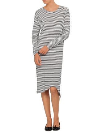 Stripe Long Sleeve T-Shirt Dress