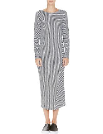 Stripe Long Sleeve Hemmed Neck Tee Dress