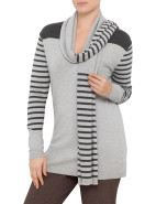 Stripe Sleeve Jumper with Scarf $40.95