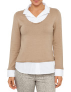 Knit Top with Woven Insert $63.95