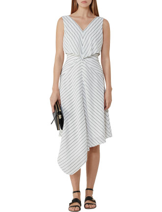 Rhoni-Stripe Gathered Waist Dress