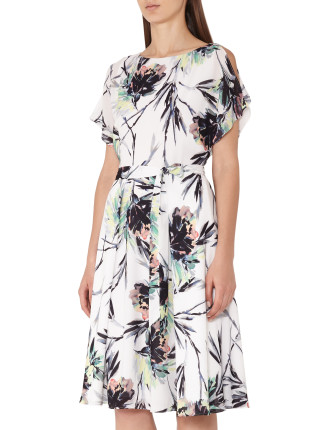 NAOMI-PRINTED COLD SHOULDER DRESS