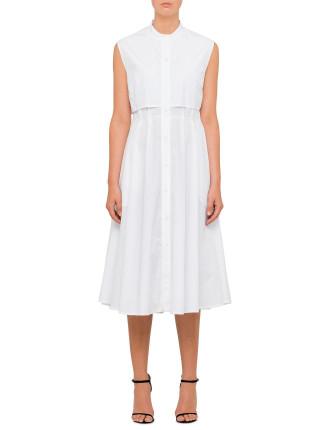 Cotton Poplin Sleeveless Shirt Dress With Pleat Back