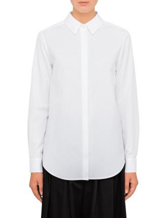Cotton Poplin Pleat Back Shirt