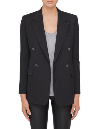 Fine Wool Gaberdine Double Breasted Jacket