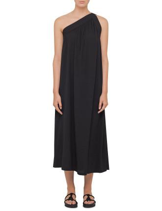Stretch Silk Crepe One Shoulder Dress