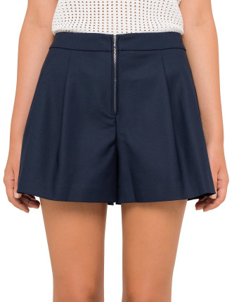 Short With Exposed Front Metal Zipper