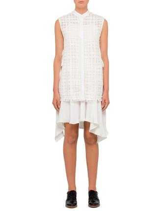Sleeveless Dress With Fringed Bodice