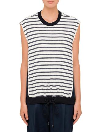 Sleeveless T-Shirt With Tie Waistband