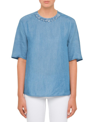 Stonewashed T-Shirt With Frayed Denim Neckline