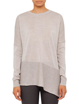 Asymmetric Round Neck With Sleeves
