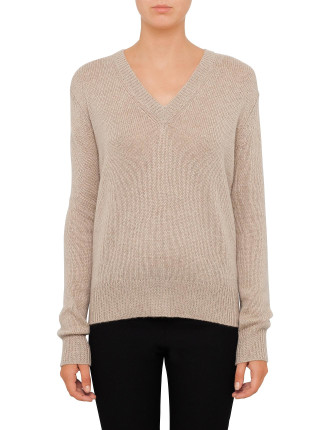 Luxe Cashmere V Neck Long Sleeve