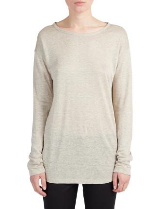 Linen Jersey Round Neck Long Sleeve T-Shirt
