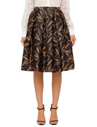Self Stripe Print Skirt