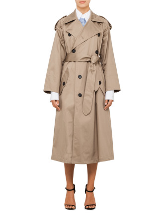 Cotton Sateen Trench Coat With Belt