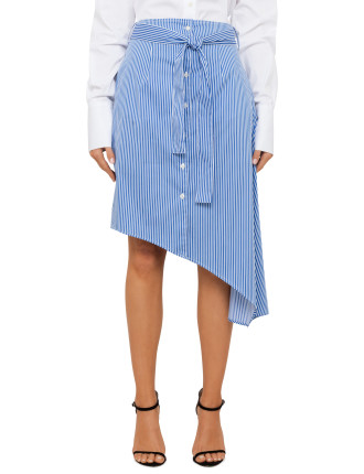 Satin Stripe Asymetrical Skirt
