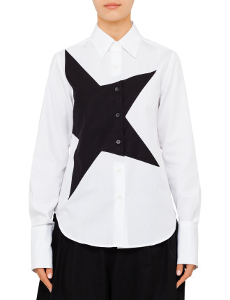 Wide Cuff Classic Shirt With Star