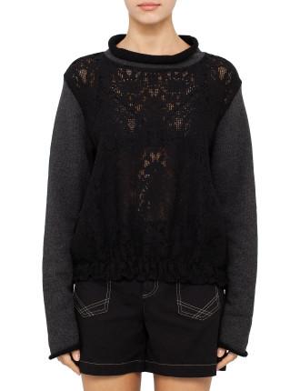 Fleece And Lace Sweatshirt