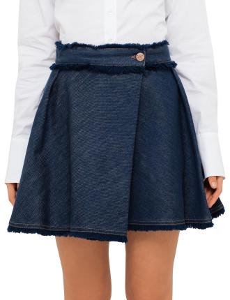 Denim And Fringes Skirt