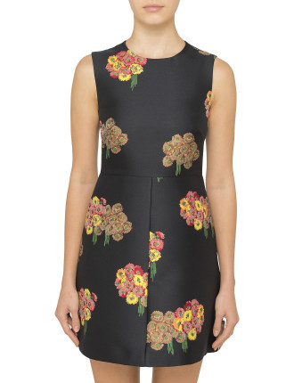 FLYING BOUQUET S/L BROCADE DRESS
