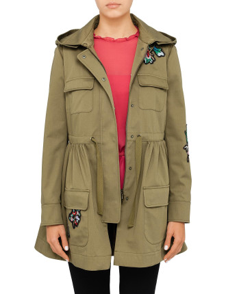 Embroidered patchwork parka