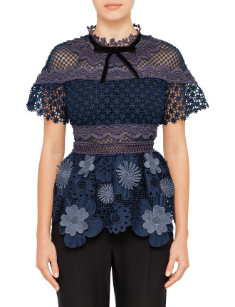 3d floral mesh panelled top