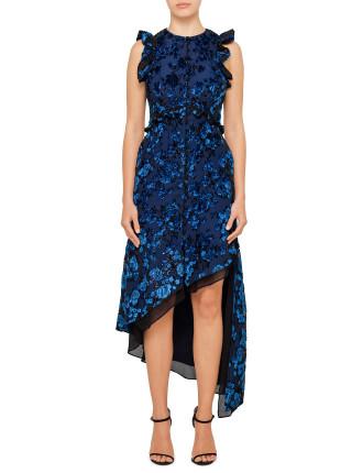 turquoise floral devore sleeveless dress