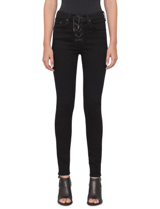 Lace Up High Rise Jeans